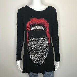 Lauren Moshi Diamond Mouth Sweater Shirt XS